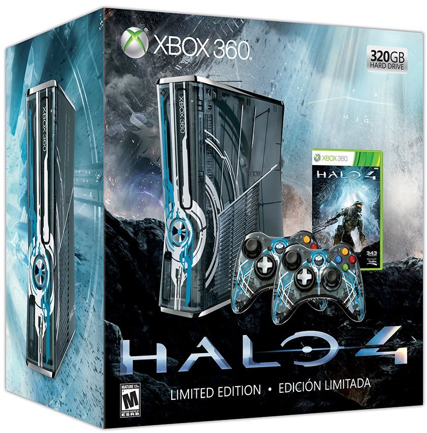 360: CONSOLE - SLIM - HALO 4 EDITION - INCL: 1 HALO 4 CTRL; HOOKUPS; HALO 4 GAME DISC (USED)