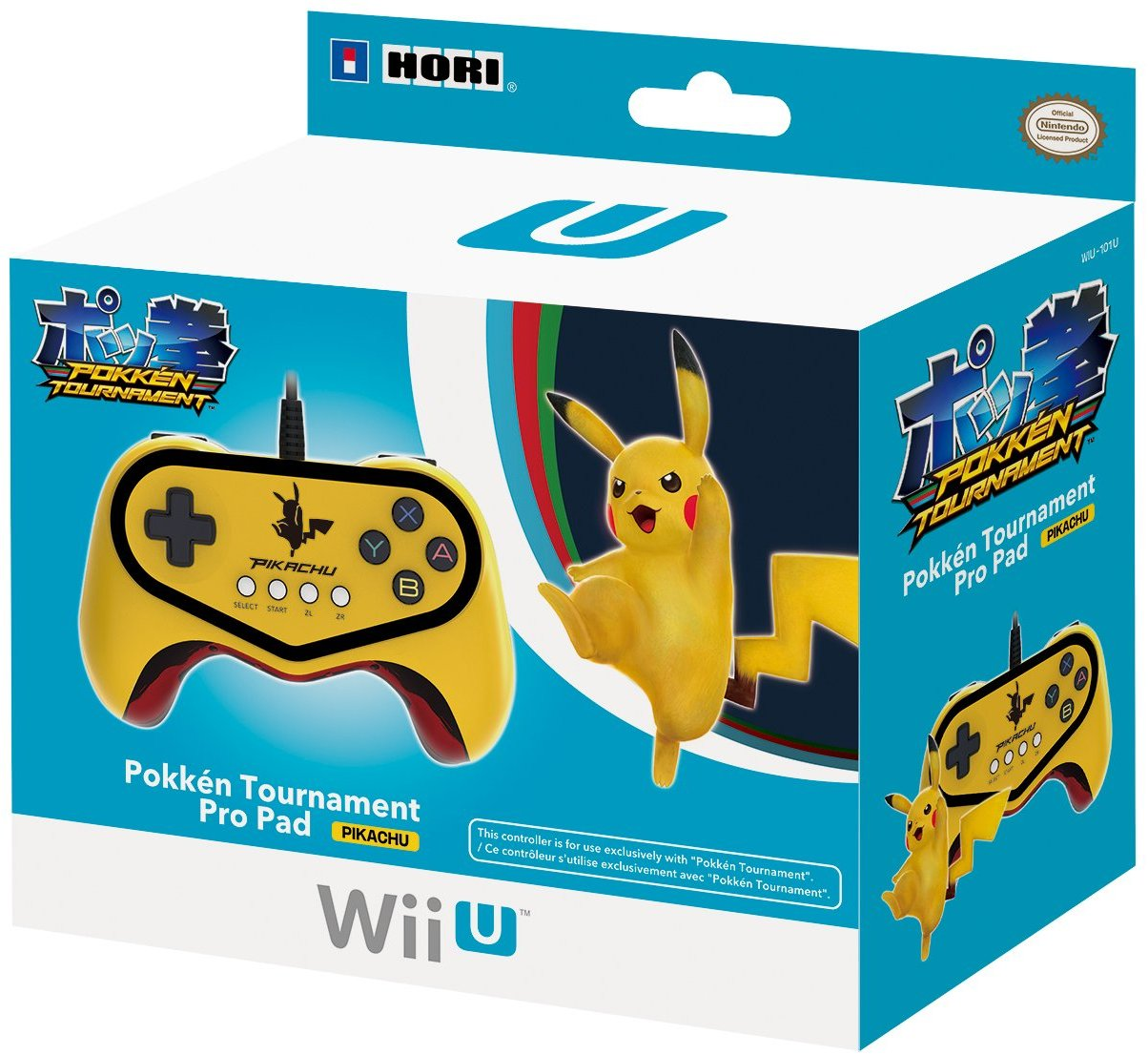 WIIU: CONTROLLER - GENERIC - WIRED - POKKEN TOURNAMENT PRO PAD - PIKACHU (USED)