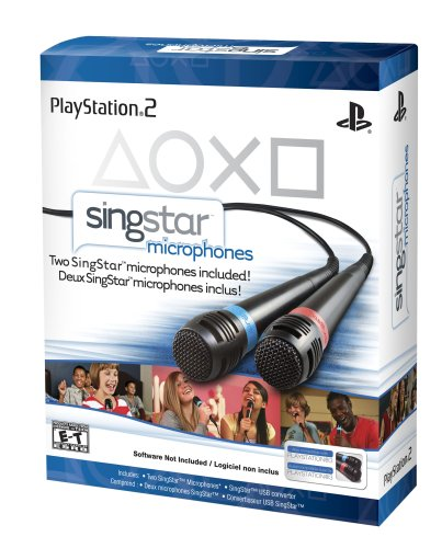 PS2/PS3: SINGSTAR MICROPHONES - INCL; SINGSTAR USB CONVERTER AND BLUE AND RED MIC (USED)