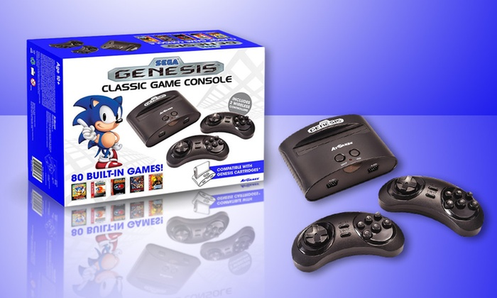 SG: CONSOLE - SEGA GENESIS CLASSIC - ATGAMES - INCLUDES; HOOKUPS AND 2 CTRLS (USED)