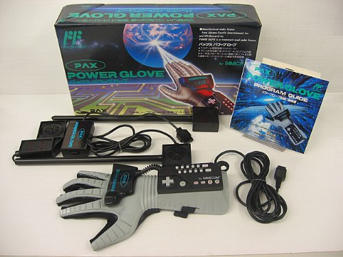 NES: POWER GLOVE W/ CONNECTOR AND SUPER GLOVE BALL (BOX WORN) (COMPLETE)